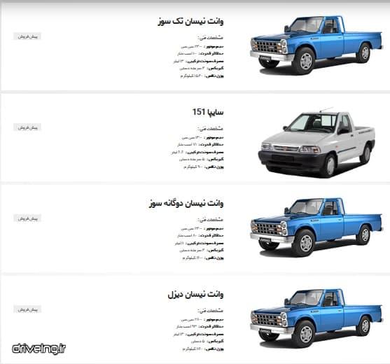خودروهای پیش فروش شرکت سایپا