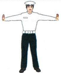 بلند کردن دست های پلیس به دو طرف و به صورت افقی