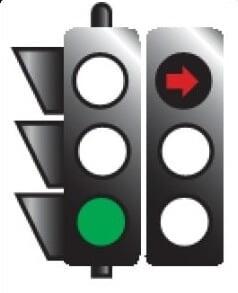 در این حالت عبور مستقیم و گردش در جهت پیکان مجاز می باشد